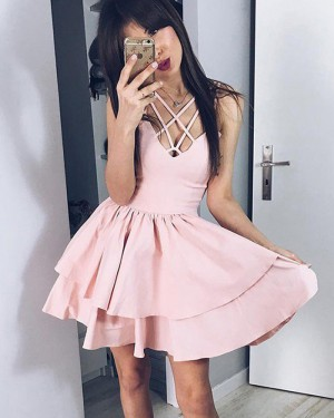 Simple Pearl Pink Pleated Crisscross Layered Homecoming Dress HD3386