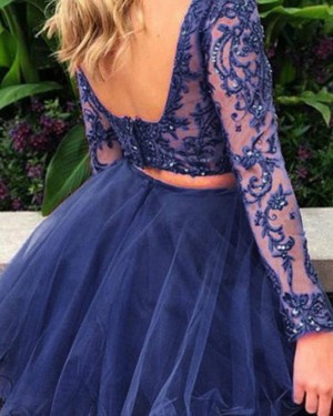 Navy Blue Beading Two Piece Embroidery Homecoming Dress with Long Sleeves HD3387