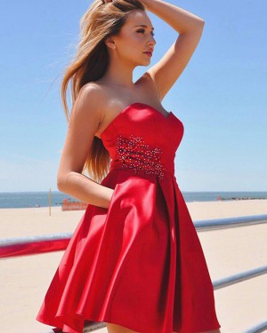 Red Satin Sweetheart Beading Homecoming Dress with Pockets HD3388