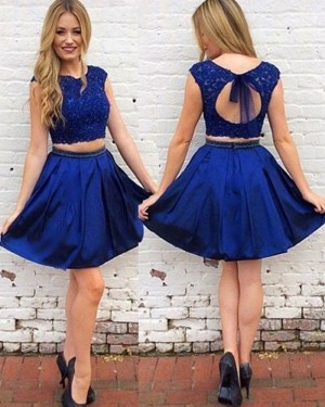 Royal Blue Lace Bodice Two Piece Satin Homecoming Dress HD3389
