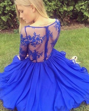 Blue Satin V-neck Lace Bodice Homecoming Dress with Long Sleeves HD3391