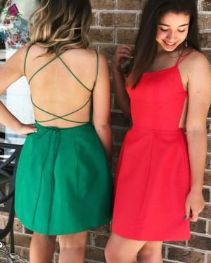 Simple Short Satin Double Spaghetti Straps Party Dress HD3393