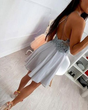 Grey Chiffon High Neck Lace Bodice Homecoming Dress HD3395