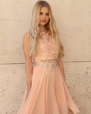 Pink Chiffon High Neck Lace Bodice Beading Homecoming Dress HD3396