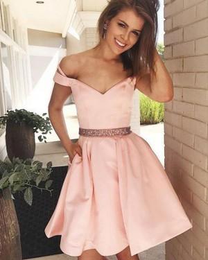 Pink Beading Waist V-neck Satin Homecoming Dress with Pockets HD3397