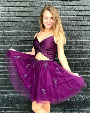 Purple Cutout Spaghetti Straps Crisscross Appliqued Homecoming Dress HD3400