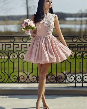 Pink Pleated High Neck Appliqued Homecoming Dress HD3404