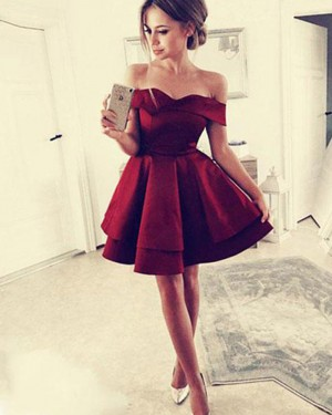Simple Red Layered Off the Shoulder Satin Homecoming Dress HD3405