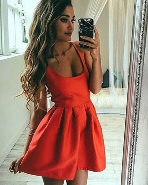 Simple Red Square Satin Pleated Homecoming Dress HD3409