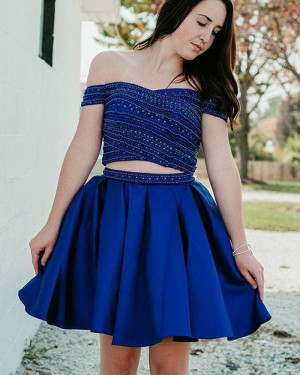 Blue Beading Two Piece Off the Shoulder Pleated Homecoming Dress HD3410