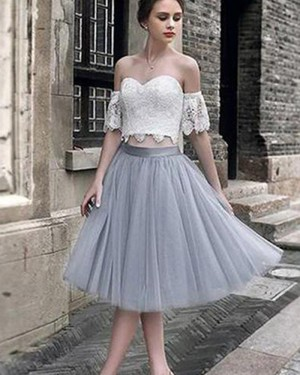 White Lace Bodice Off the Shoulder Homecoming Dress with Grey Skirt HD3412
