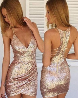 Gold Sequined Ruched Spaghetti Straps Bodycon Club Dress HD3413