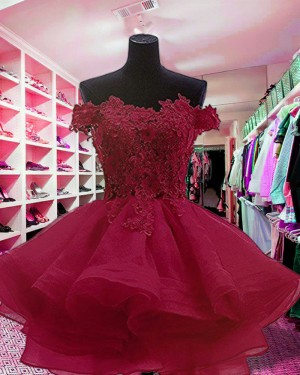 Red Ruffled Off the Shoulder Appliqued Homecoming Dress HD3414