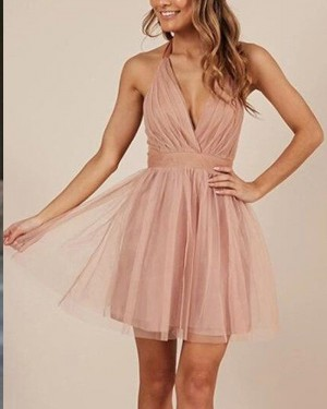 Pink Tulle Ruched Halter Simple Blush Party Dress HD3416