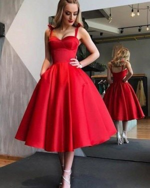 Simple Red Satin Tea Length Square Graduation Dress with Pockets HD3417