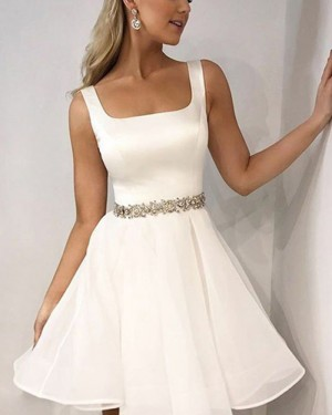 Simple White Square Satin Homecoming Dress with Beading Belt HD3418