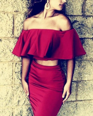 Off the Shoulder Burgundy Two Piece Tight Short Formal Dress HD3419