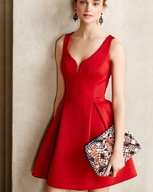 Simple Red Cutout Satin Elegant Square Neck Short Formal Dress HD3421