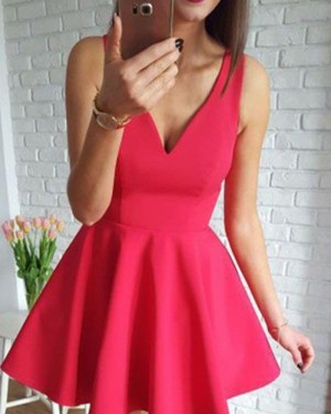 Simple Red Satin V-neck Homecoming Dress for School Dance HD3425