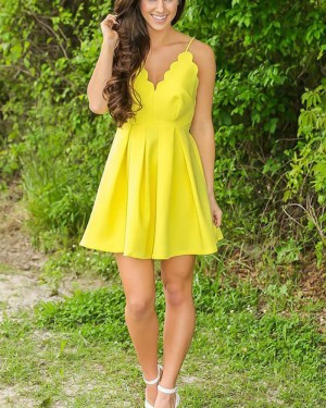 Simple Yellow Spaghetti Straps Pleated Homecoming Dress HD3426