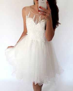 Sheer White Pleated Tulle Lace Appliqued Bodice Homecoming Dress HD3428