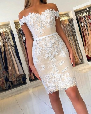 Lace Appliqued Off the Shoulder Nude Bodycon Party Dress HD3478