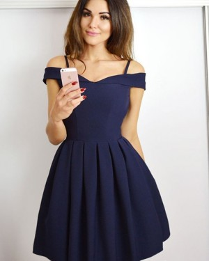 Simple Pleated Cold Shoulder Navy Blue Short Homecoming Dress HD3479