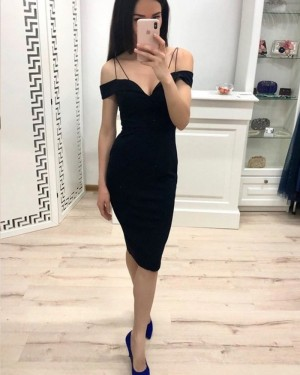 Simple Bodycon Cold Shoulder Black Party Dress HD3481