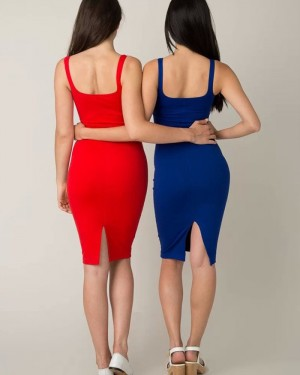 Simple Knee Length Square Red Tight Party Dress HD3486