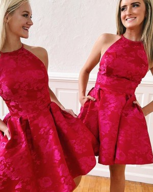 Red Lace High Neck Homecoming Dress with Pockets HD3489
