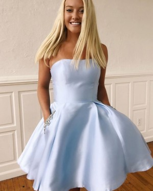 Simple Satin Short Strapless Homecoming Dress with Beading Pockets HD3490