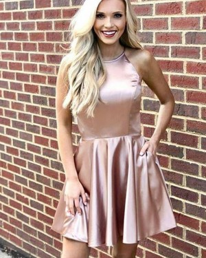 Simple Nude Pleated Halter Homecoming Dress with Pockets HD3493