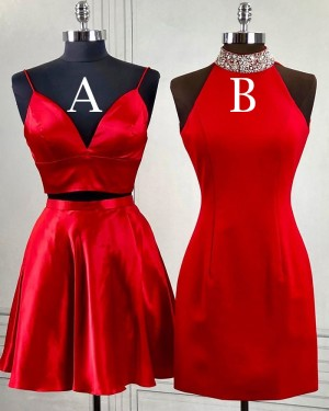Red Bodycon High Neck Beading Homecoming Dress HD3494