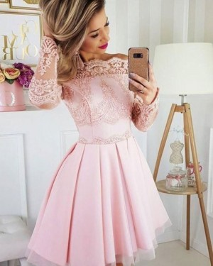 Off the Shoulder Pink Pleated Lace Appliqued Homecoming Dress with Long Sleeves HD3501