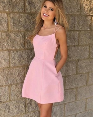 Simple Satin Pink Double Spaghetti Straps Homecoming Dress with Pockets HD3507