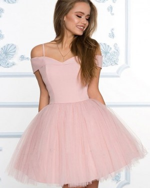 Simple Cold Shoulder Dusty Pink Homecoming Dress with Tulle Skirt HD3508