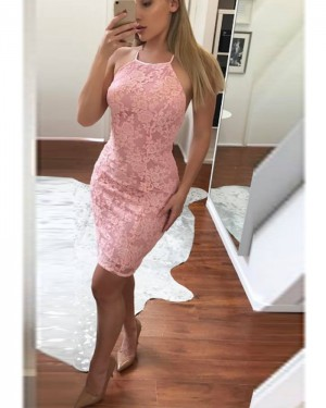 Lace Bodycon Halter Pink Homecoming Dress HD3511