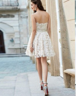 A-line Sweetheart White Lace Homecoming Dress HD3512