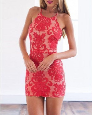 Red Lace Spaghetti Straps Bodycon Party Dress HD3515