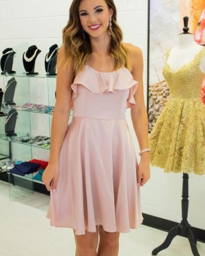 Pearl Pink Layered Neck Spaghetti Straps Chiffon Homecoming Dress HD3517