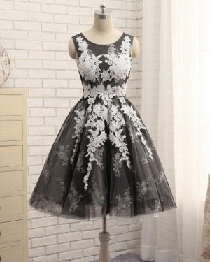 White & Black Scoop Neck Lace Appliqued A-line Homecoming Dress HD3518