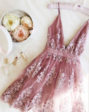 Appliqued V-neck Light Purple Lace Homecoming Dress HD3519