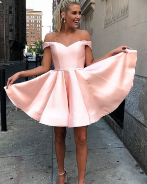 Simple Pink Off the Shoulder Satin Homecoming Dress HD3521