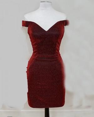 V-neck Burgundy Metallic Sheath Tight Short Homecoming Dress NHD3522