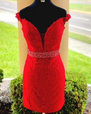 Red Bodycon Off the Shoulder Lace Appliqued Homecoming Dress with Beading Belt HD3524