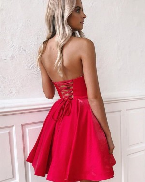 Simple Pleated Sweetheart Red Homecoming Dress HD3525