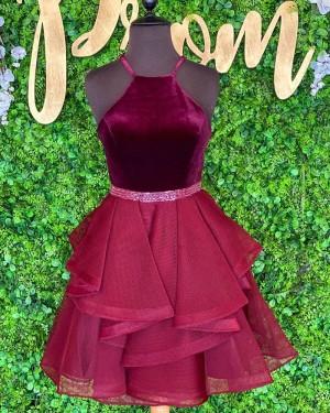Halter Burgundy Beadings Velvet Bodice Short Homecoming Dress with Ruffle Skirt NHD3525