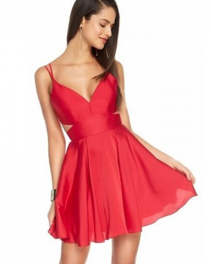 Simple Double Spaghetti Straps Red Cutout Homecoming Dress HD3530