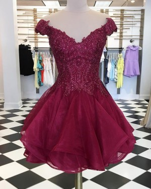 Appliqued Tulle V-neck Burgundy Beading Homecoming Dress HD3532
