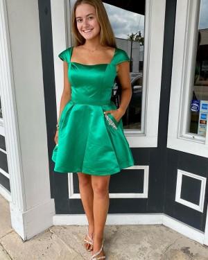 Square Neck Green Satin Cap Sleeve Short Homecoming Dress with Beading Pockets NHD3535